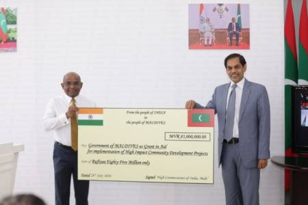 Indian Ambassador hands over MVR 85 million cheque for HICDP projects